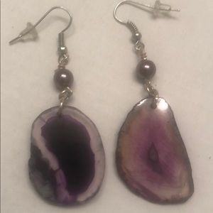Purple Geodes With Purple Pearls Earrings